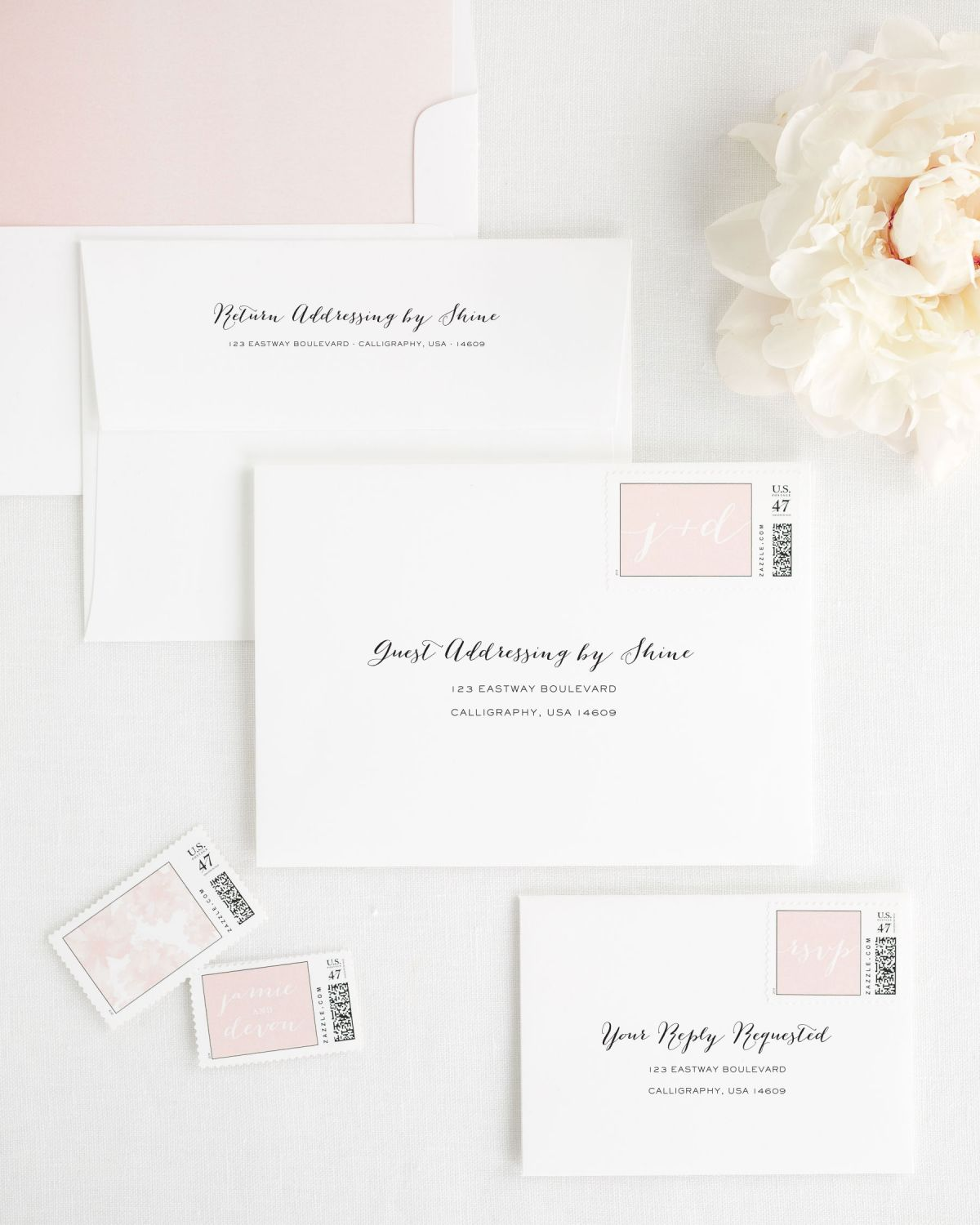 Wedding Invitation Envelope with Blush Personalized Postage and Watercolor Liner