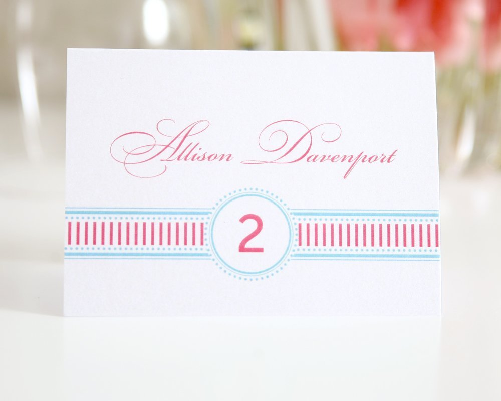 Wedding Place Card with Vintage Stripes