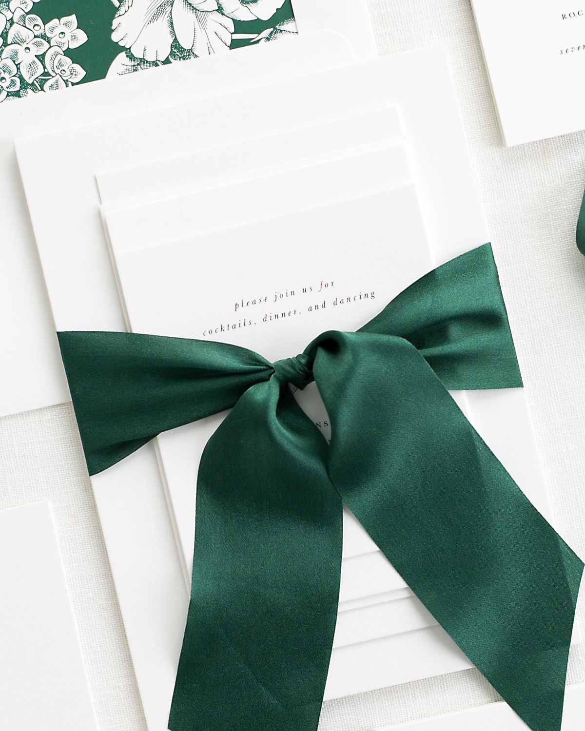 Complete Wedding Stationery Suite with Dark Green Ribbon and Enclosures
