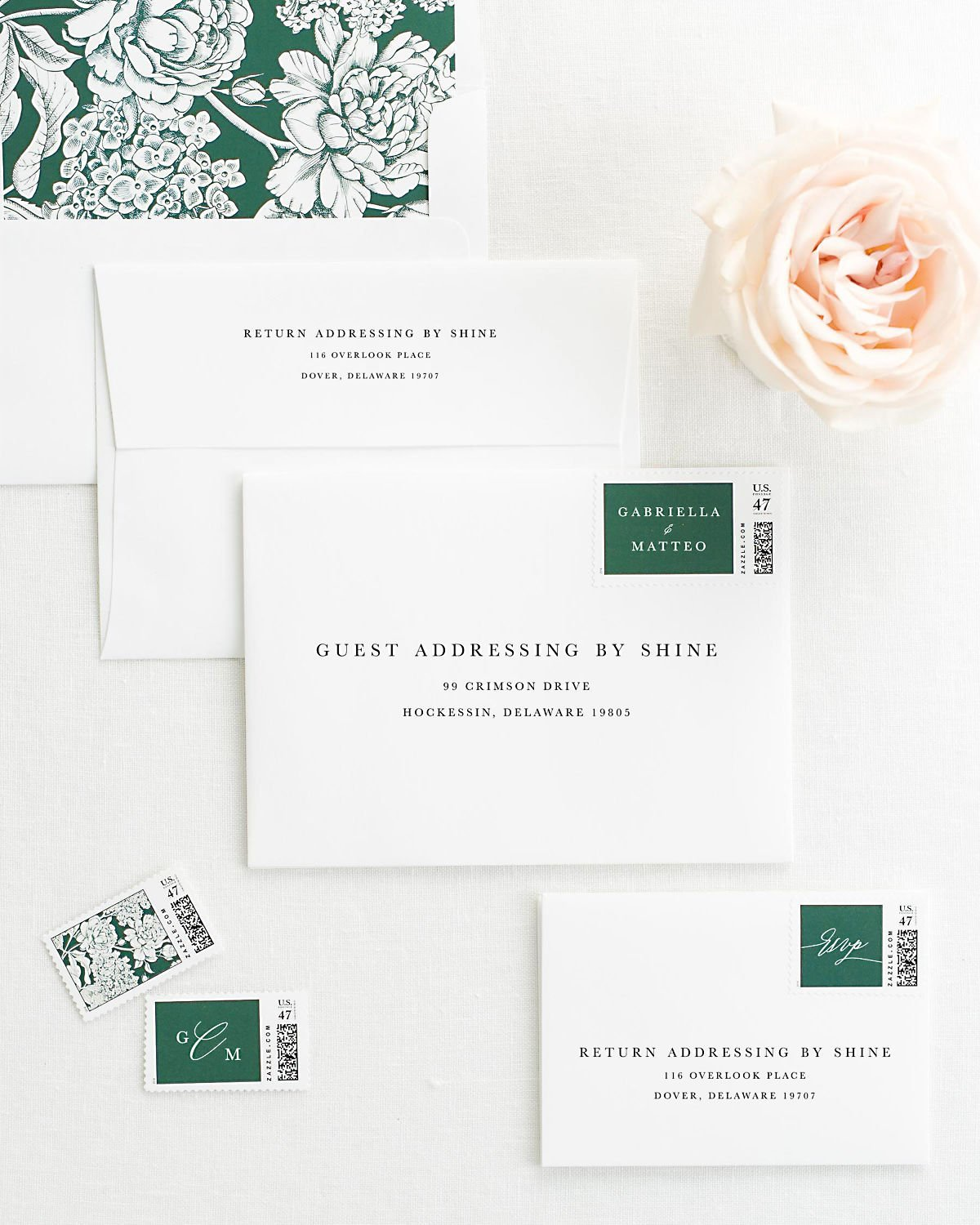 Wedding Invitation Envelopes with Pre-Printed Addresses and Matching Ivy Custom Stamps