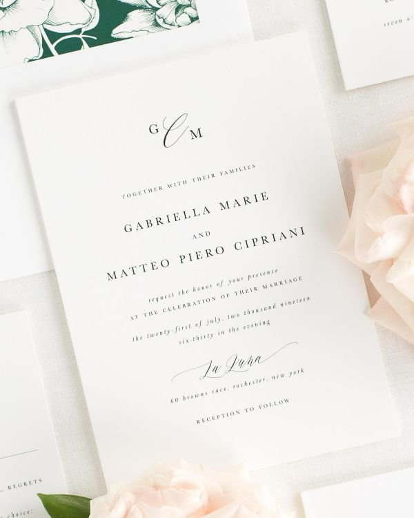 all script wedding invitations with a greenery envelope liner