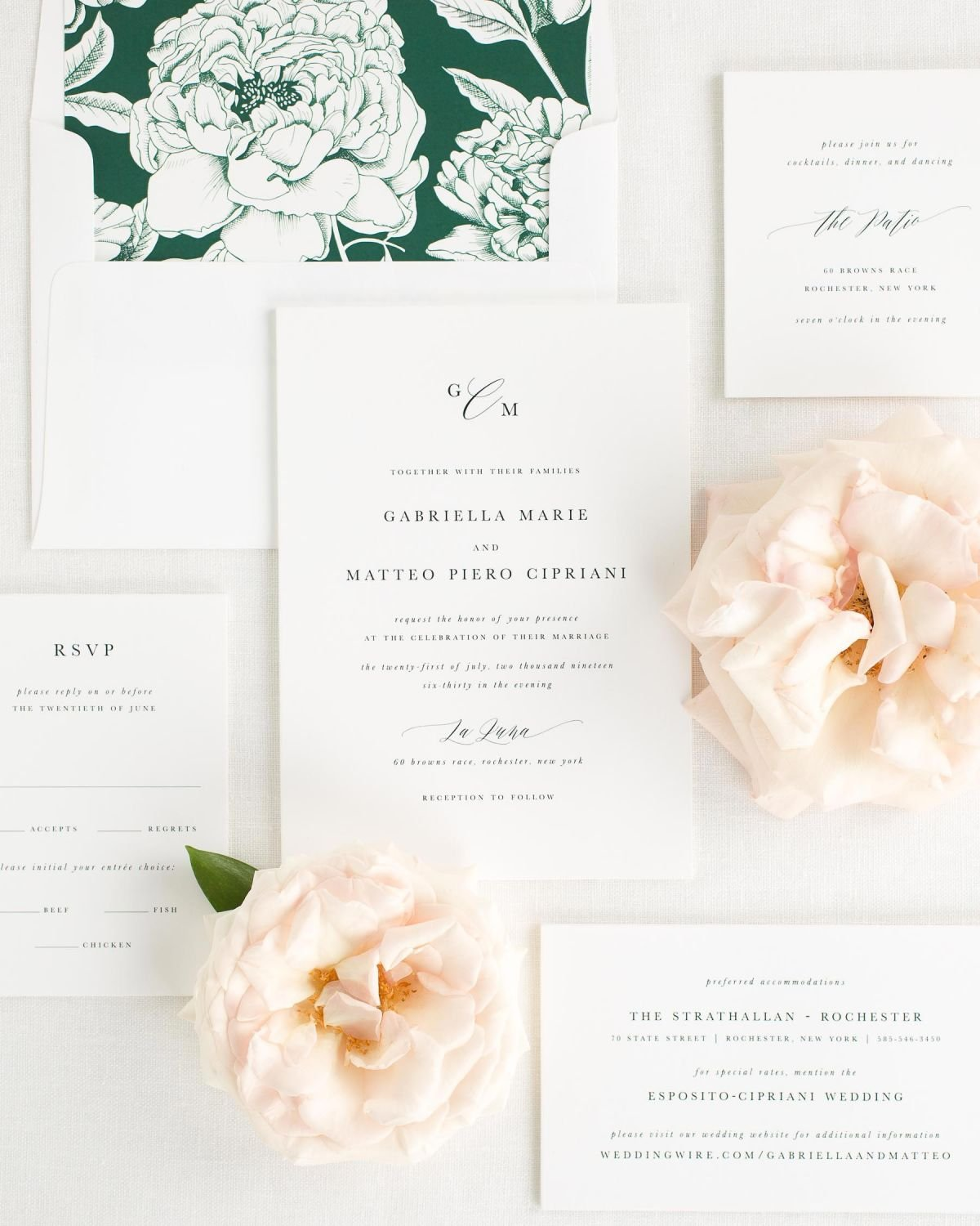 Wedding Invitation Package with Ivy Envelope Liner