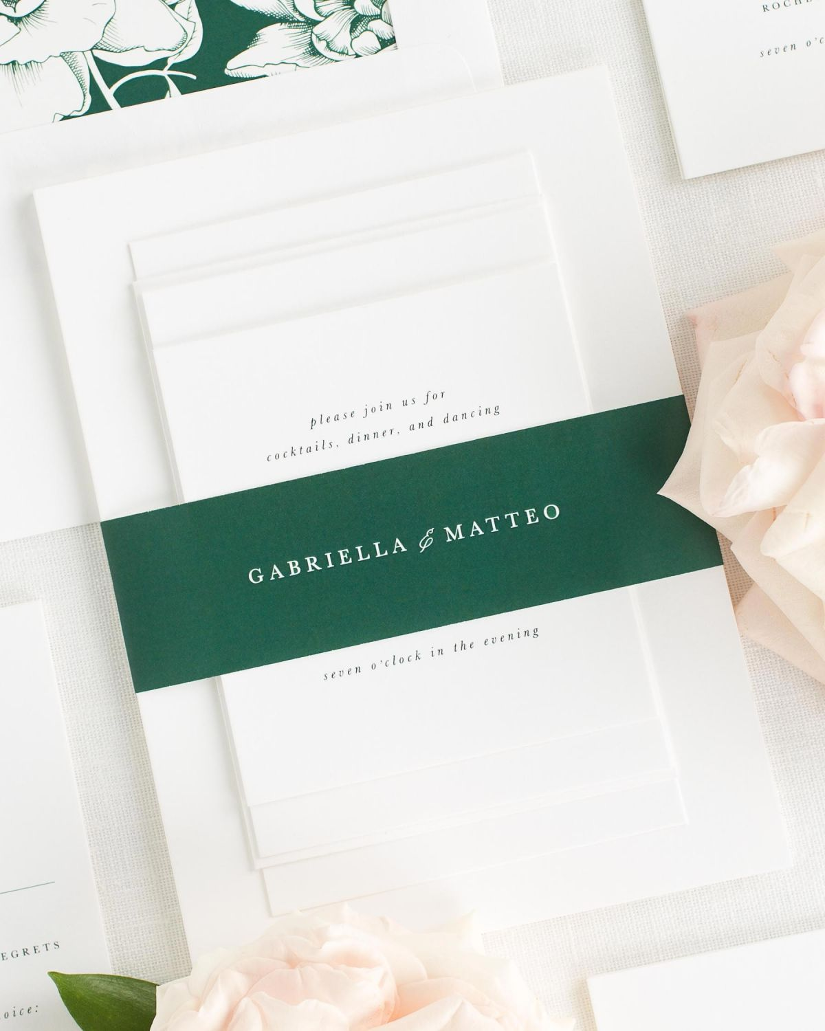 Dark Green Wedding Invitations With Belly Band And Blooms Envelope Liner