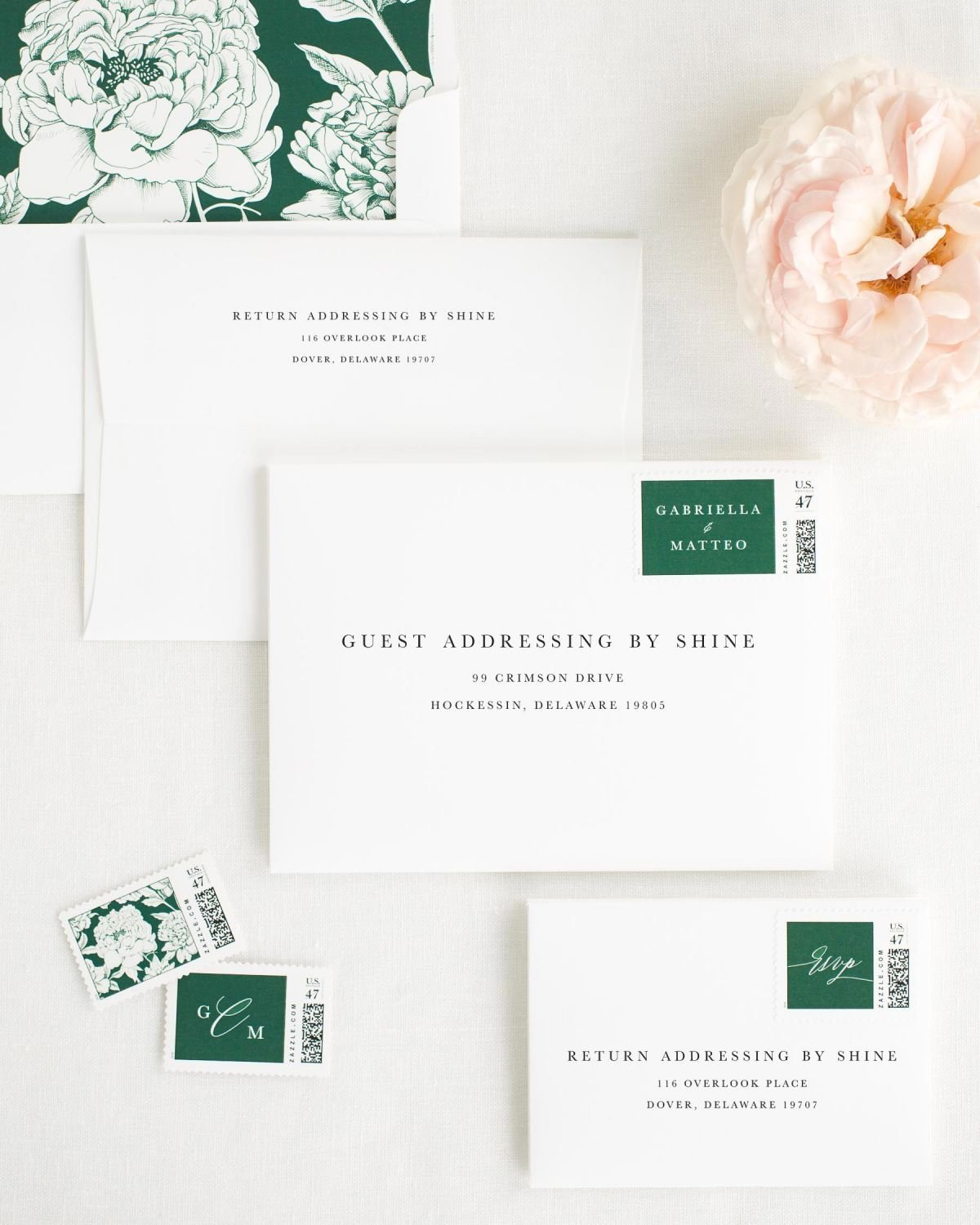 Wedding Invitation Envelopes with Ivy Custom Stamps and Blooms Liner