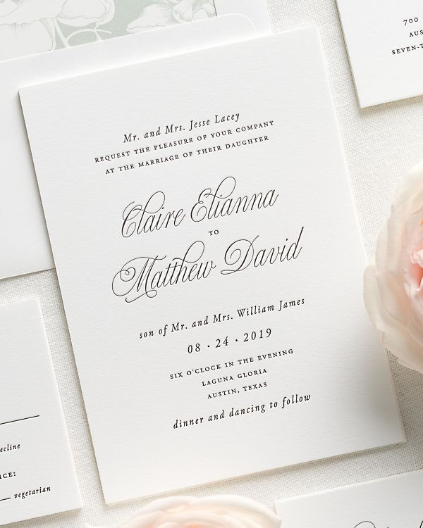 Garden Elegance Letterpress Wedding Invitations