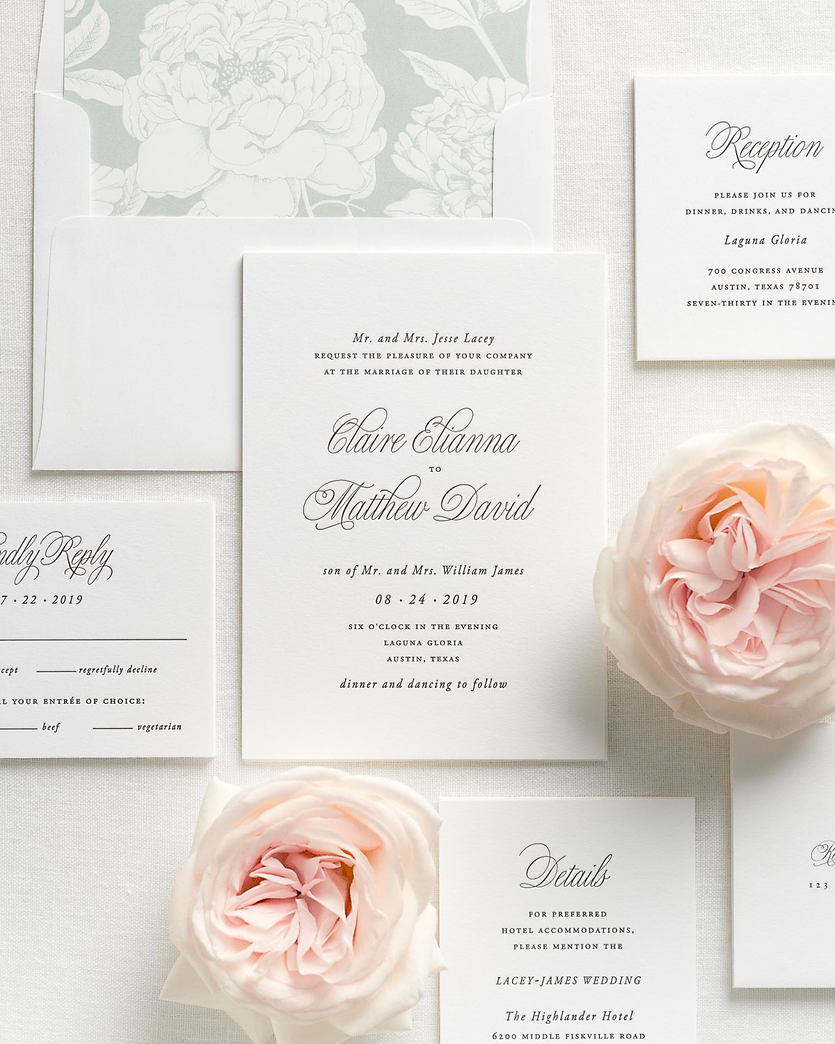 Letterpress Wedding Invitations with Sea Salt Blooms Envelope Liner and Matching Accessories