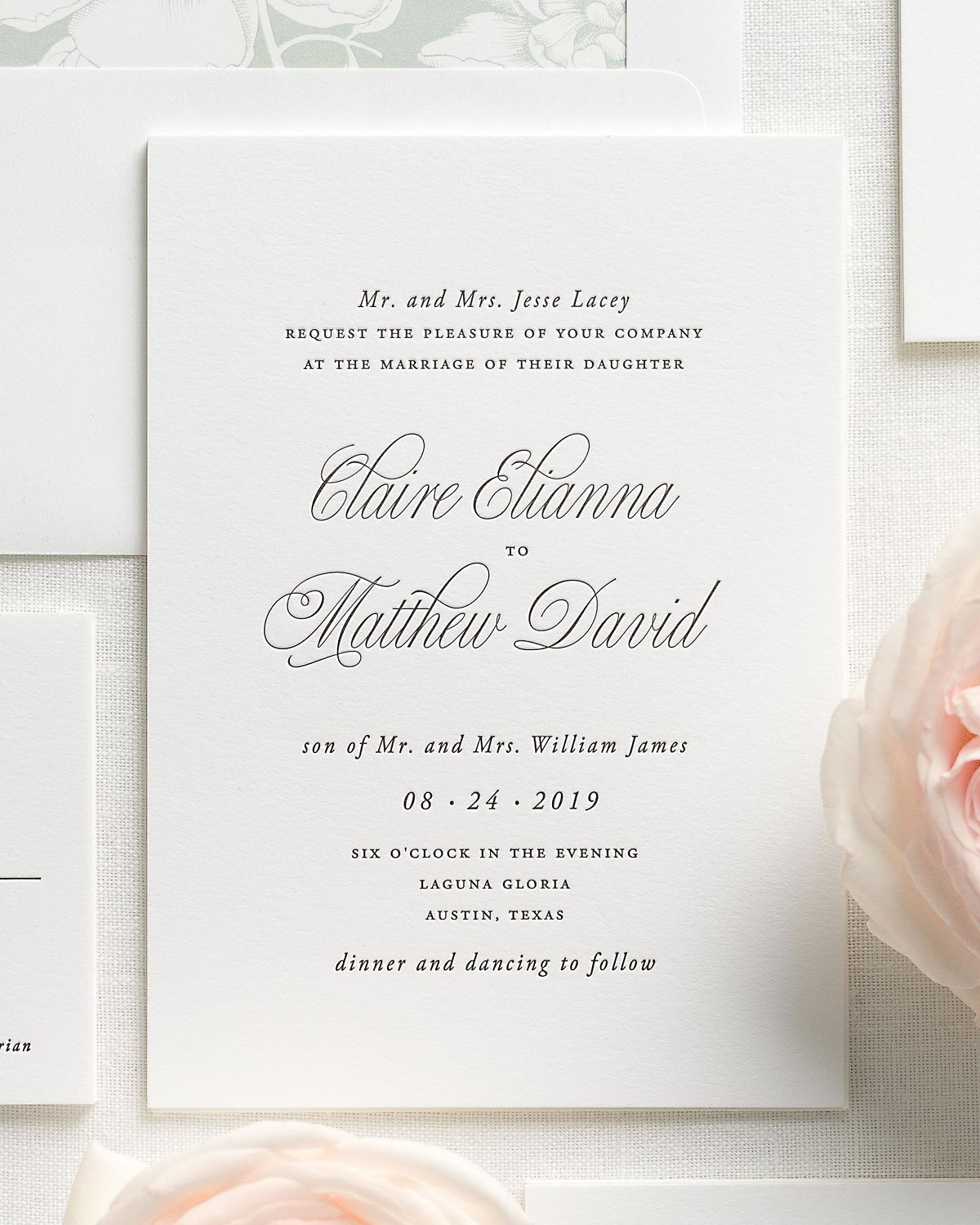 Sea Salt Wedding Invitation Suite with Letterpress Printing