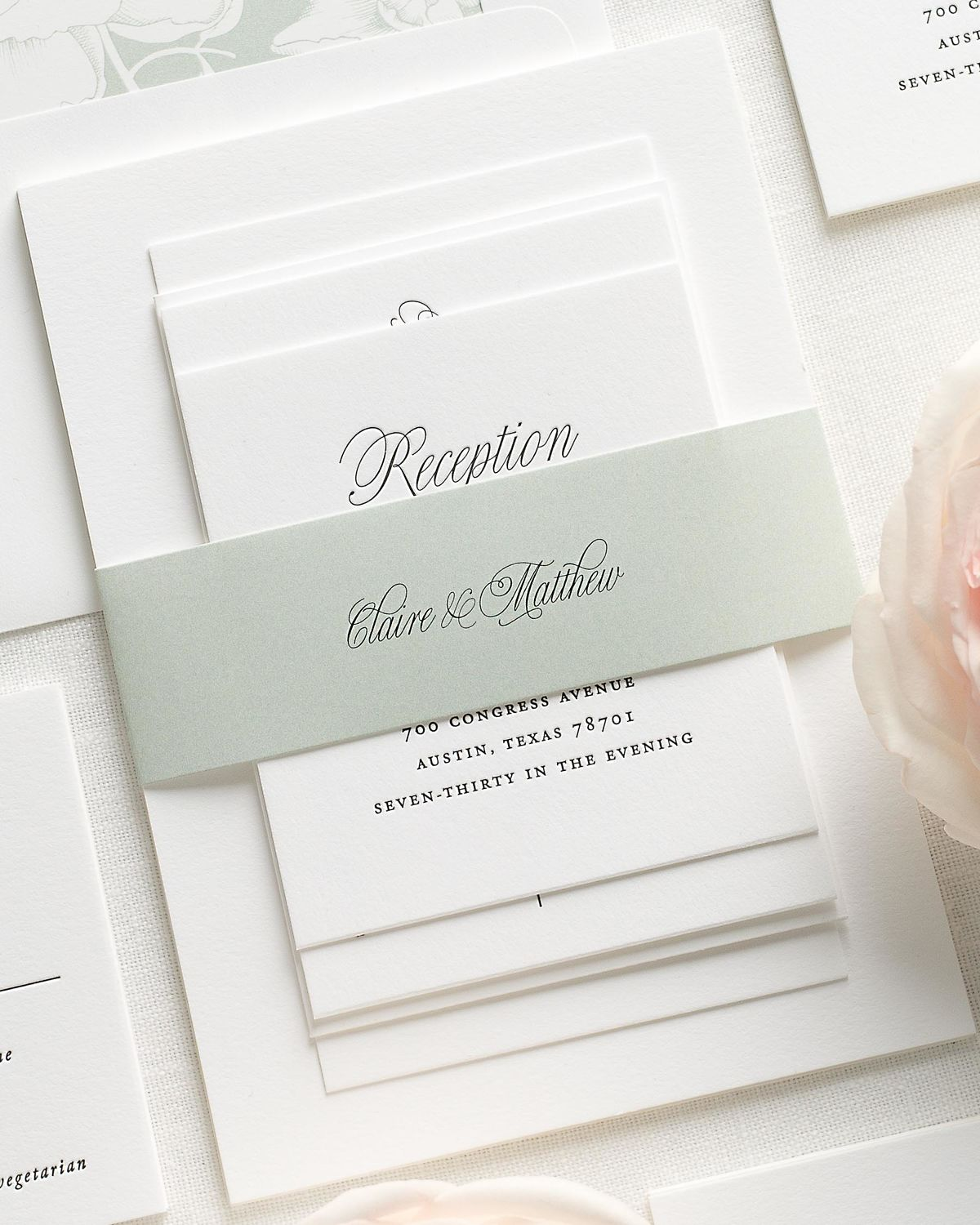 Wedding Invitations with Sea Salt Belly Band and Letterpress Printing