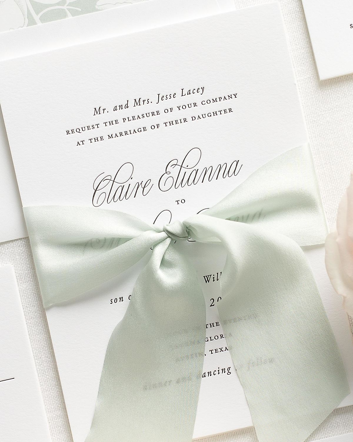Letterpress Wedding Invitations with Laurel Ribbon