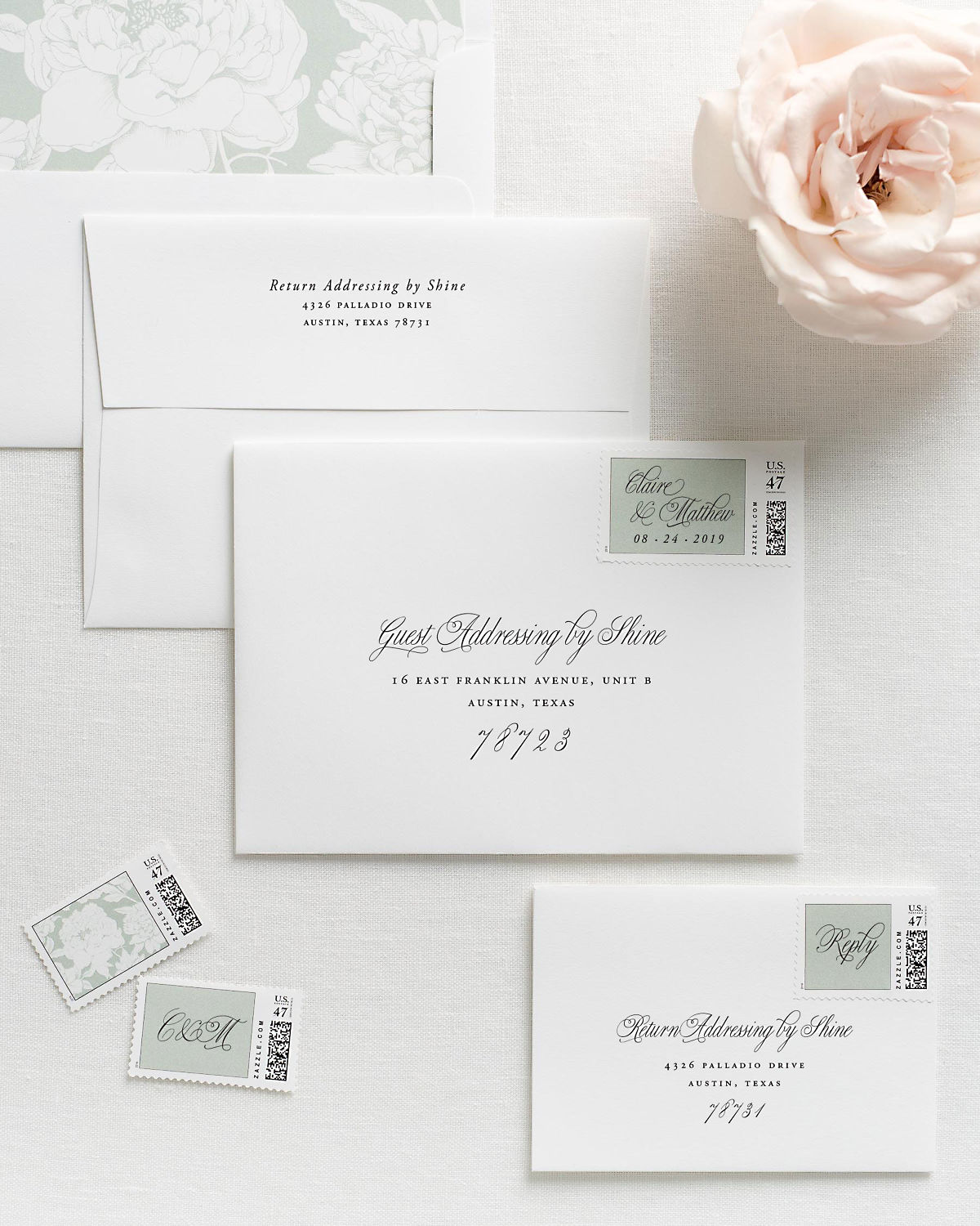 Wedding Invitation Envelopes with Pre-Printed Addresses and Matching Sea Salt Personalized Postage