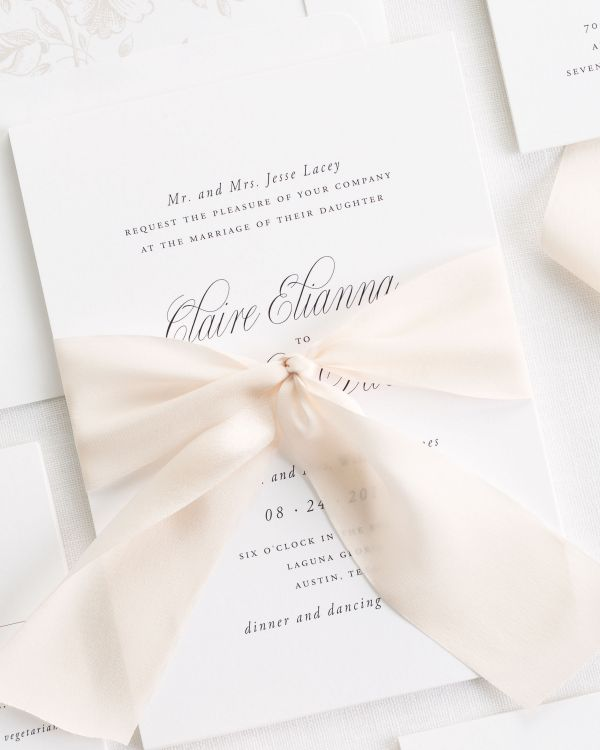 Garden Elegance Ribbon Wedding Invitations