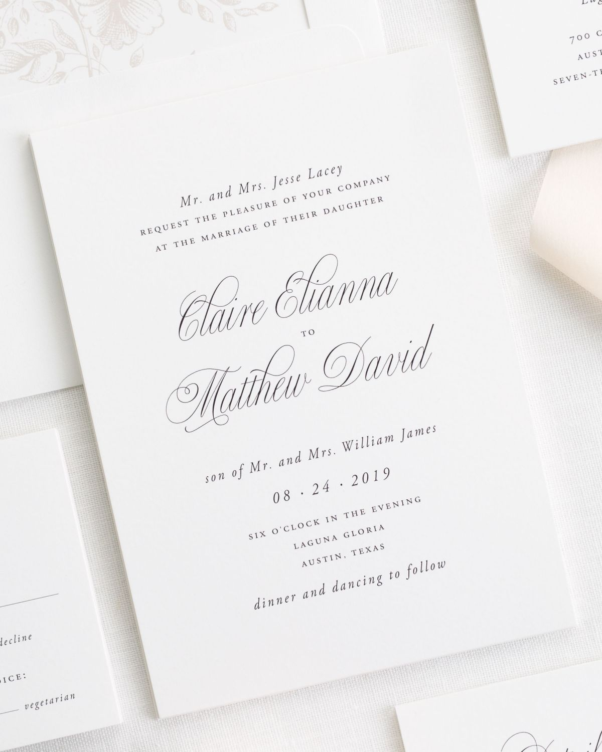 Garden Elegance Ribbon Wedding Invitations - Ribbon Wedding ...