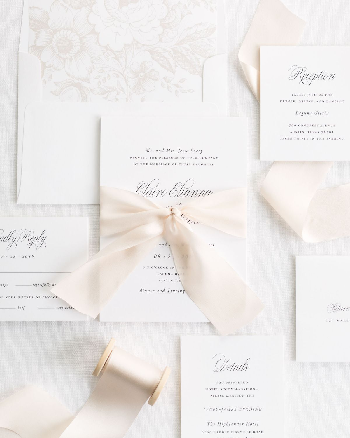 Complete Wedding Invitation Suite with Cashmere Ribbon
