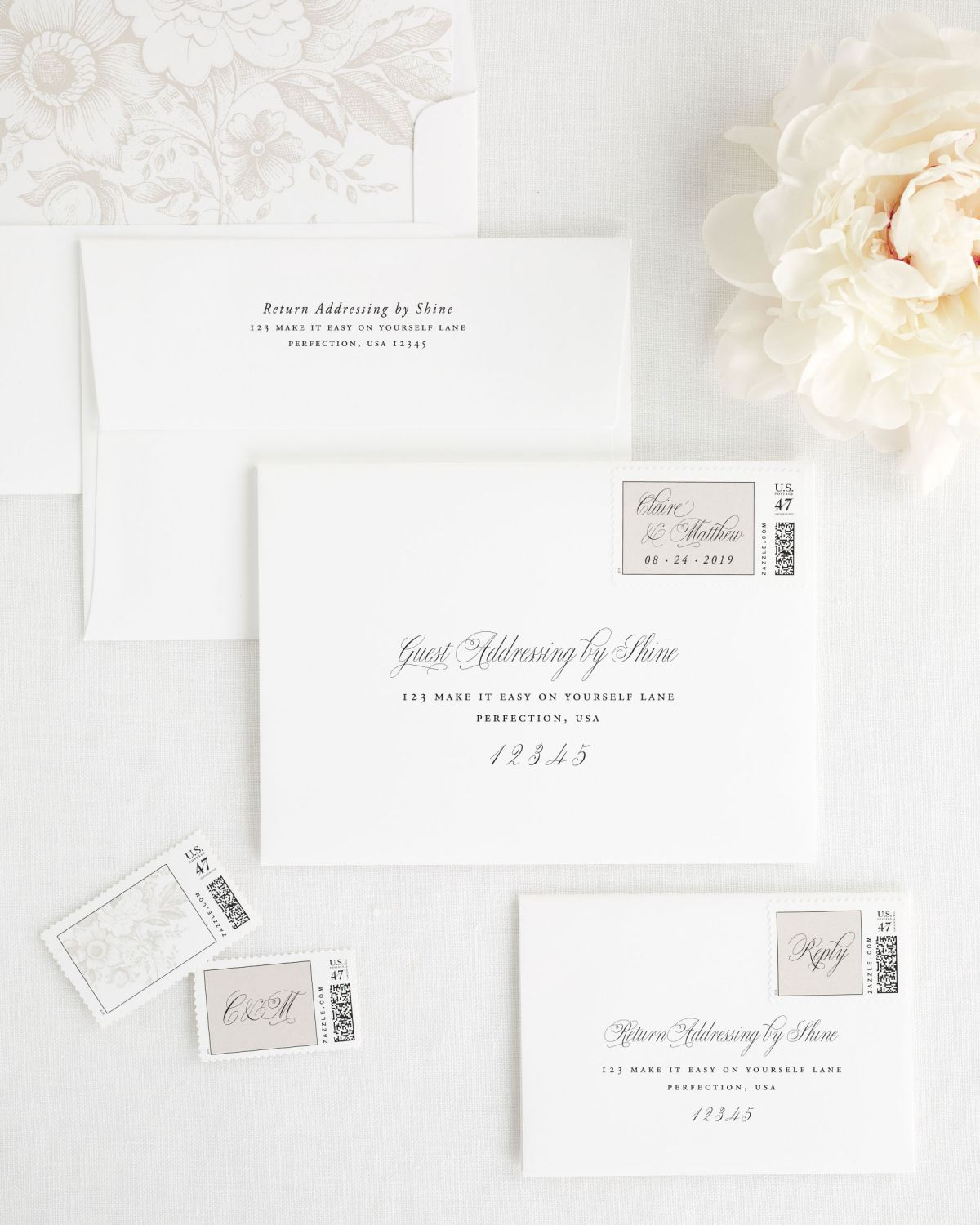 Wedding Invitation Envelopes with Guest Addressing and Personalized Stamps