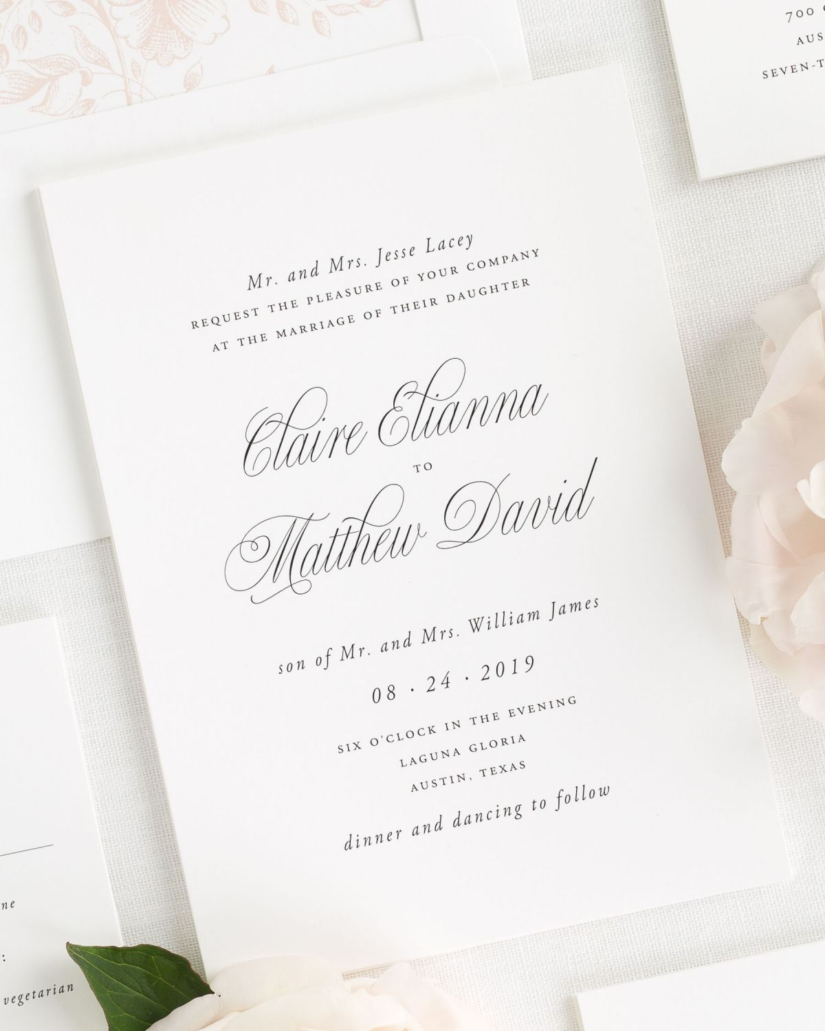 Classic Wedding Invitations with a Rose Gold Floral Liner
