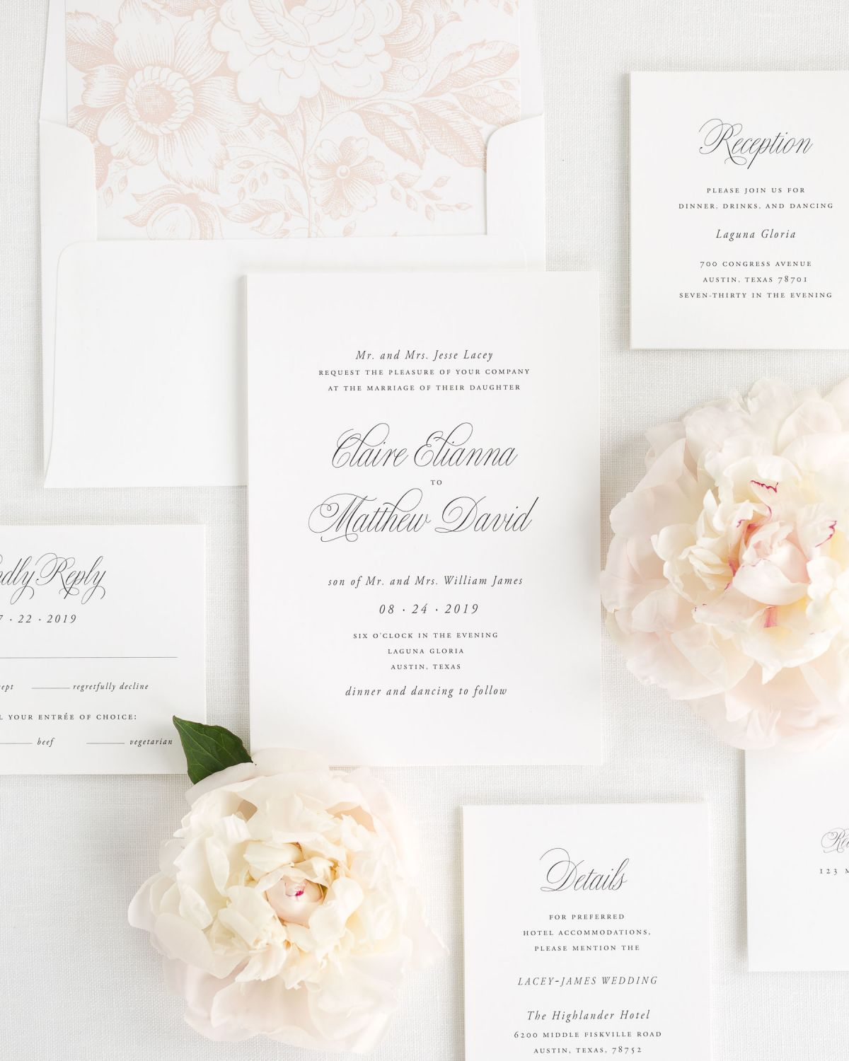 Simple Script Wedding Invitation Package with Rose Gold Envelope Liner