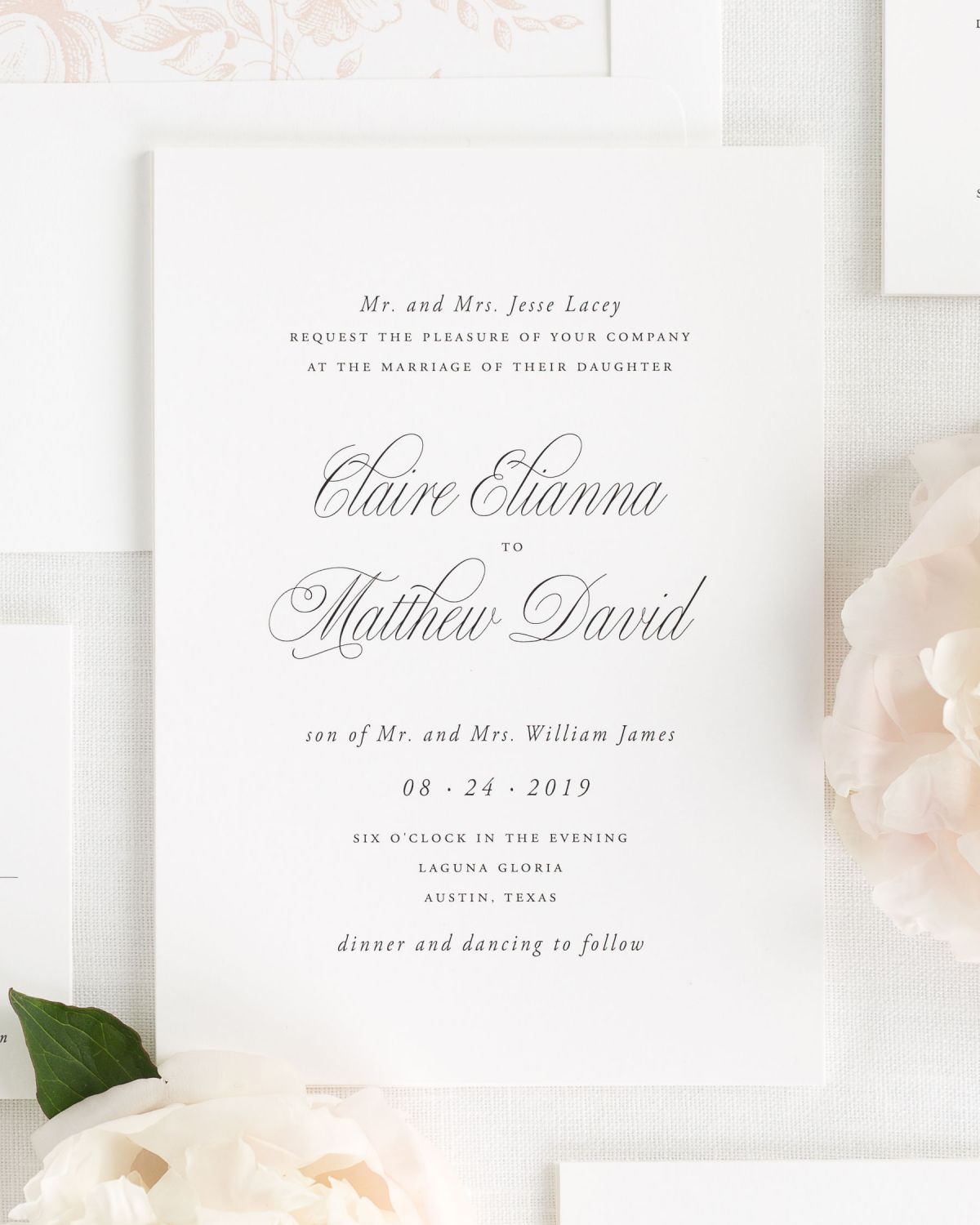 Simple Wedding Invitations with Small Script for the Names