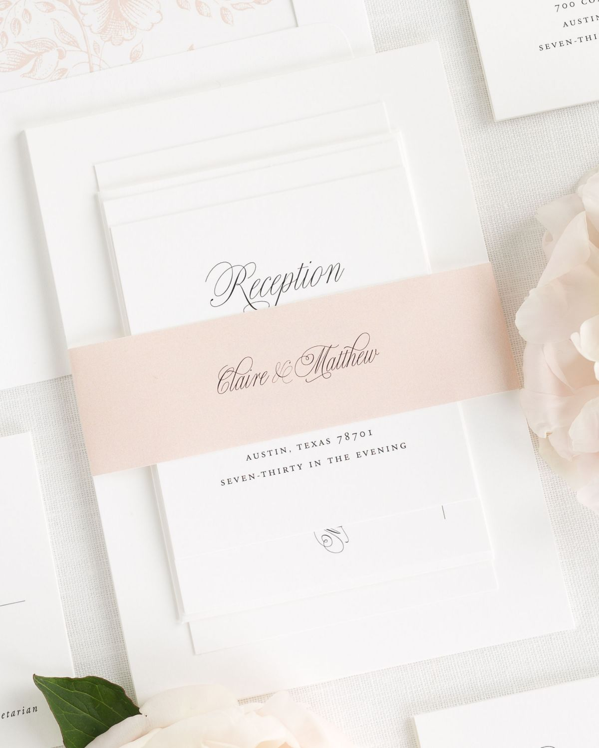 Blush Pink Wedding Invitations with Belly Bands and Envelope Liners