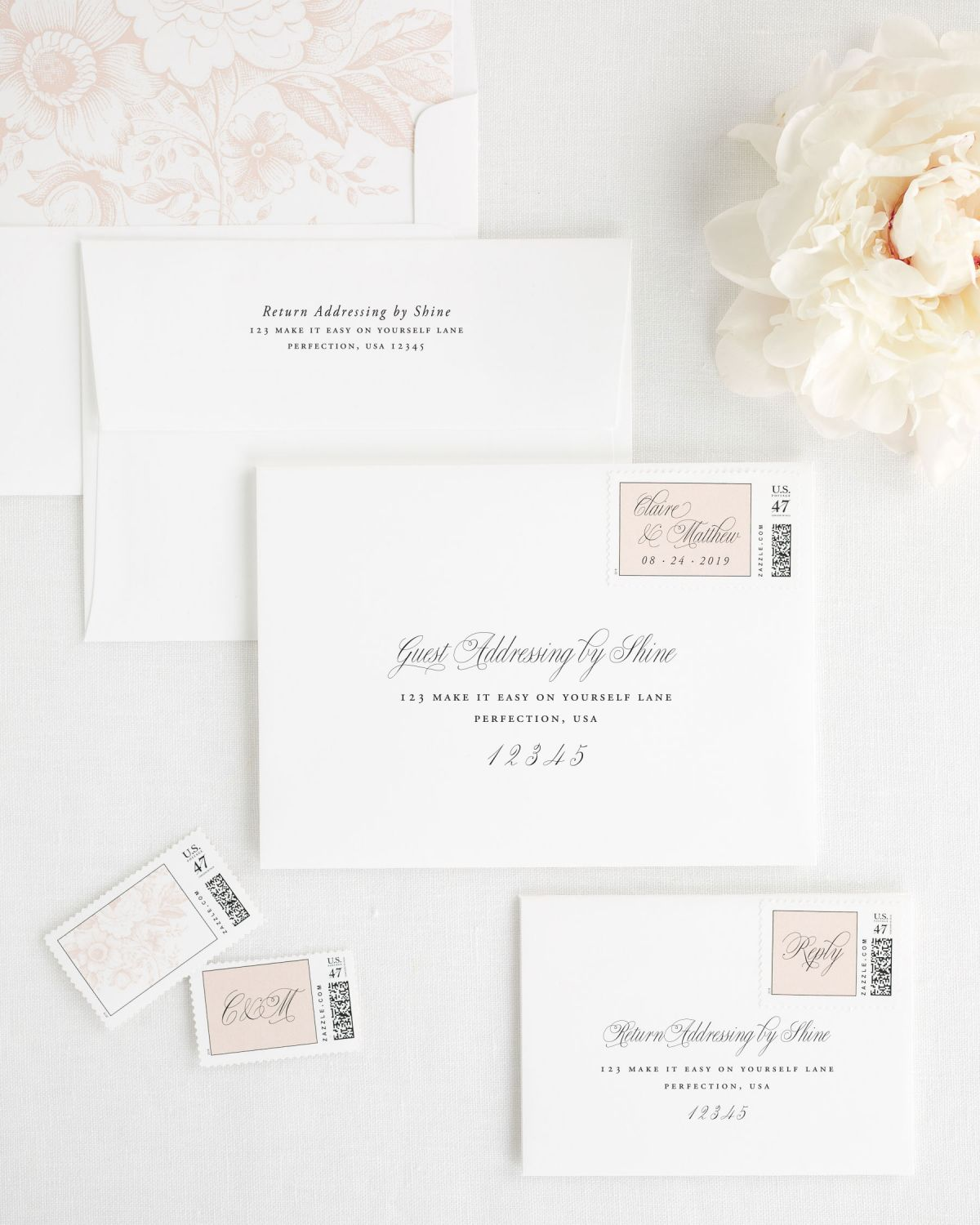 Wedding Envelopes with Address Printing and Custom Stamps