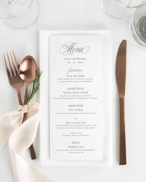 Garden Elegance Wedding Menus