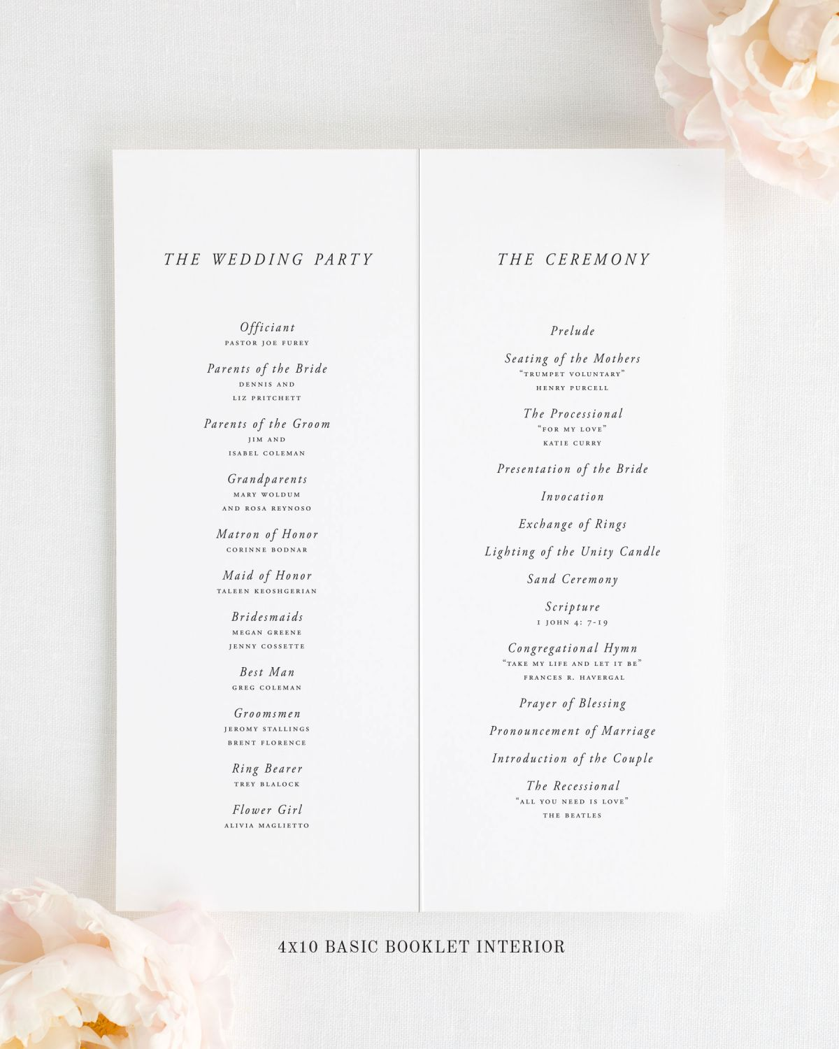 "Folded 4x10"" Wedding Program Interior"