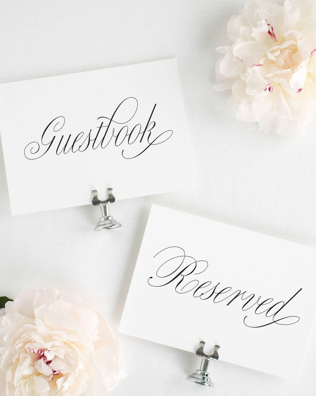 Guestbook and Reserved Signs in Script