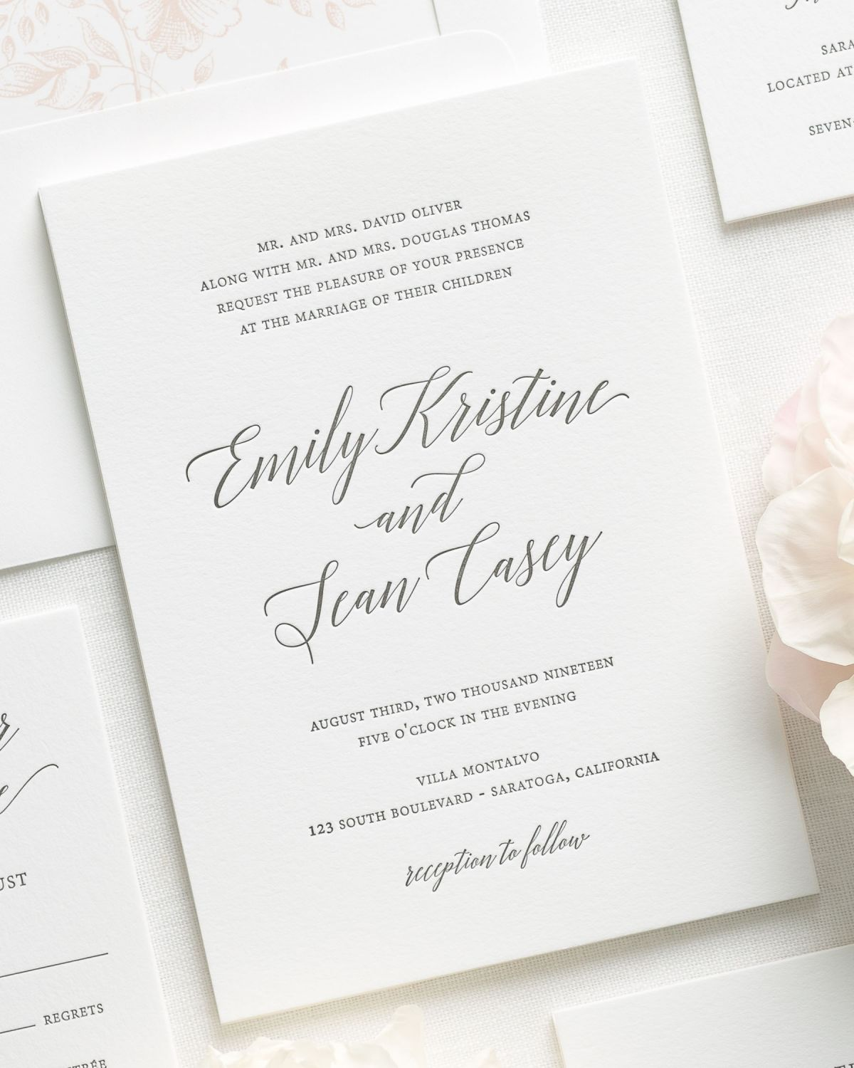 Garden Romance Letterpress Wedding Invitations - Letterpress Wedding ...