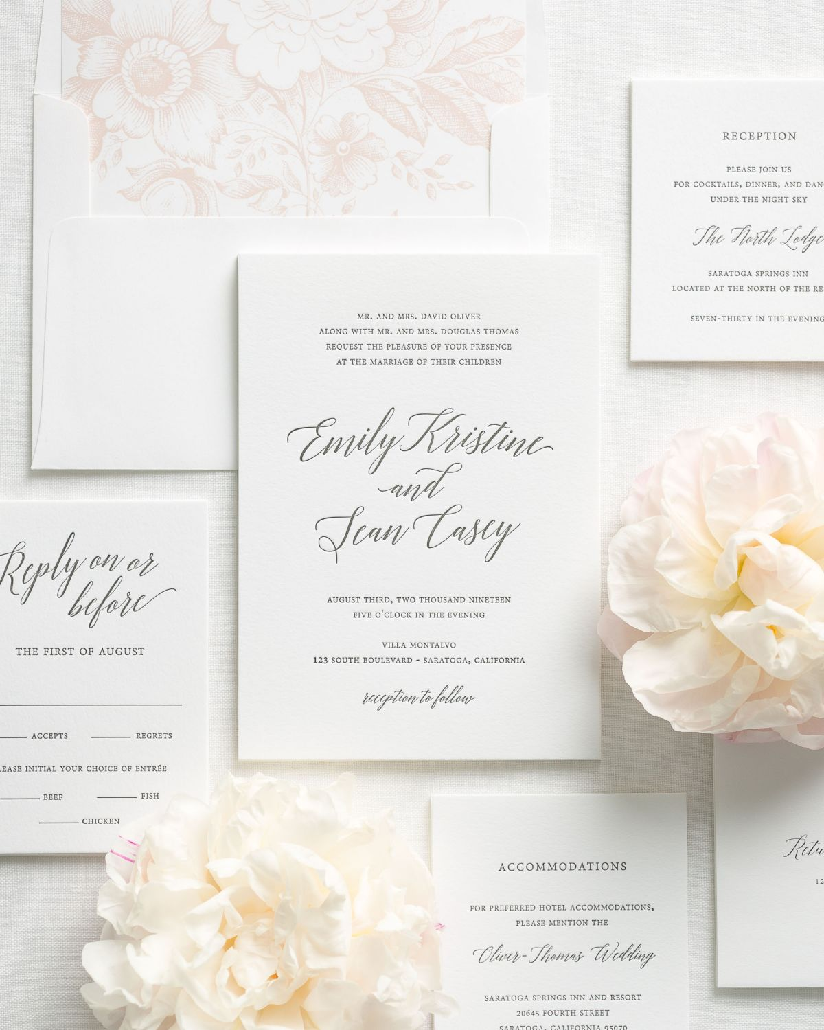 Calligraphy Wedding Invitations with a blush pink floral liner