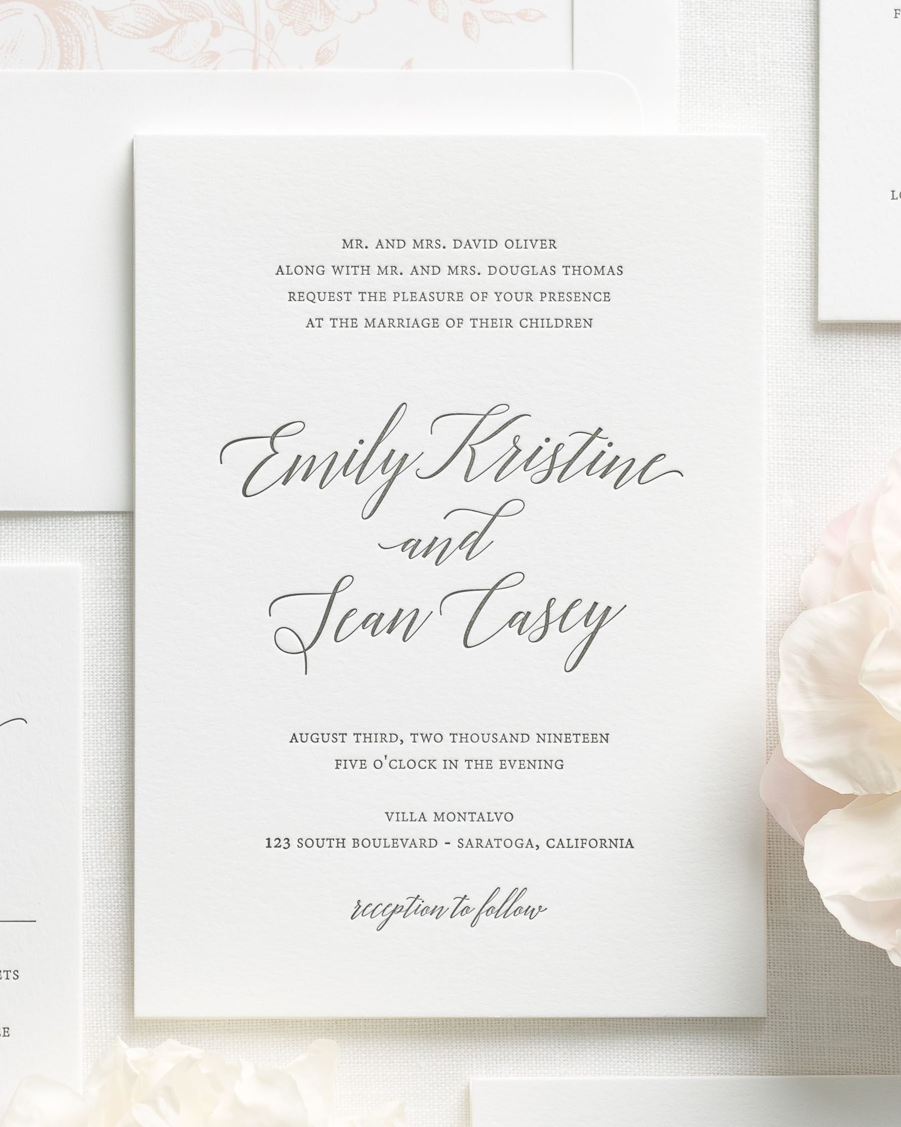 Garden Romance Letterpress Wedding Invitations