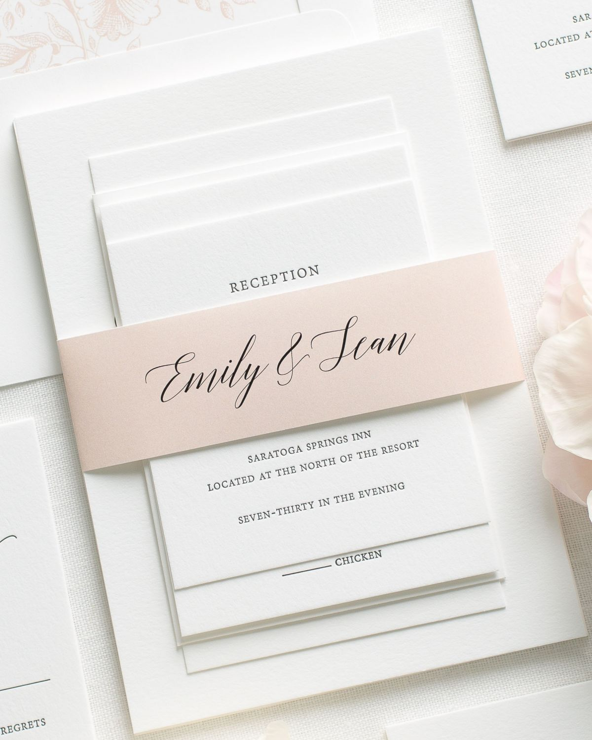 Blush Pink Letterpress Wedding Invitations