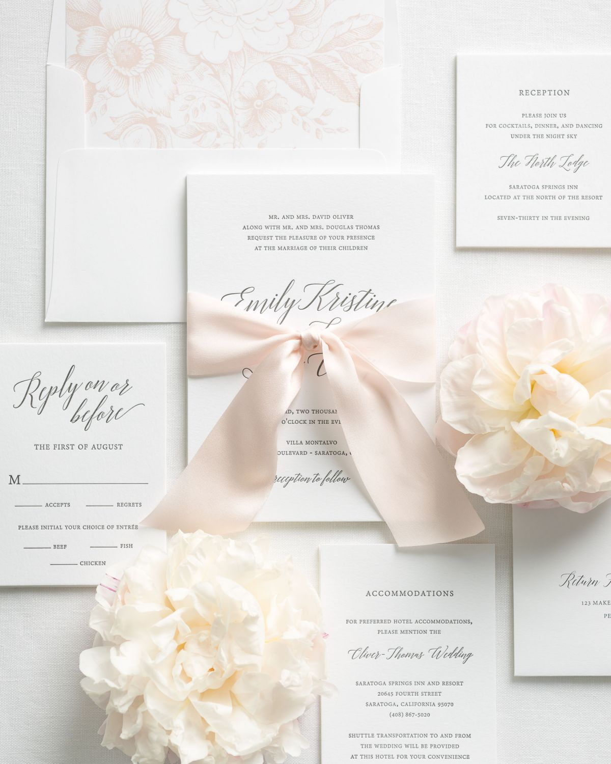 Blush Pink Wedding Invitations with Letterpress Printing