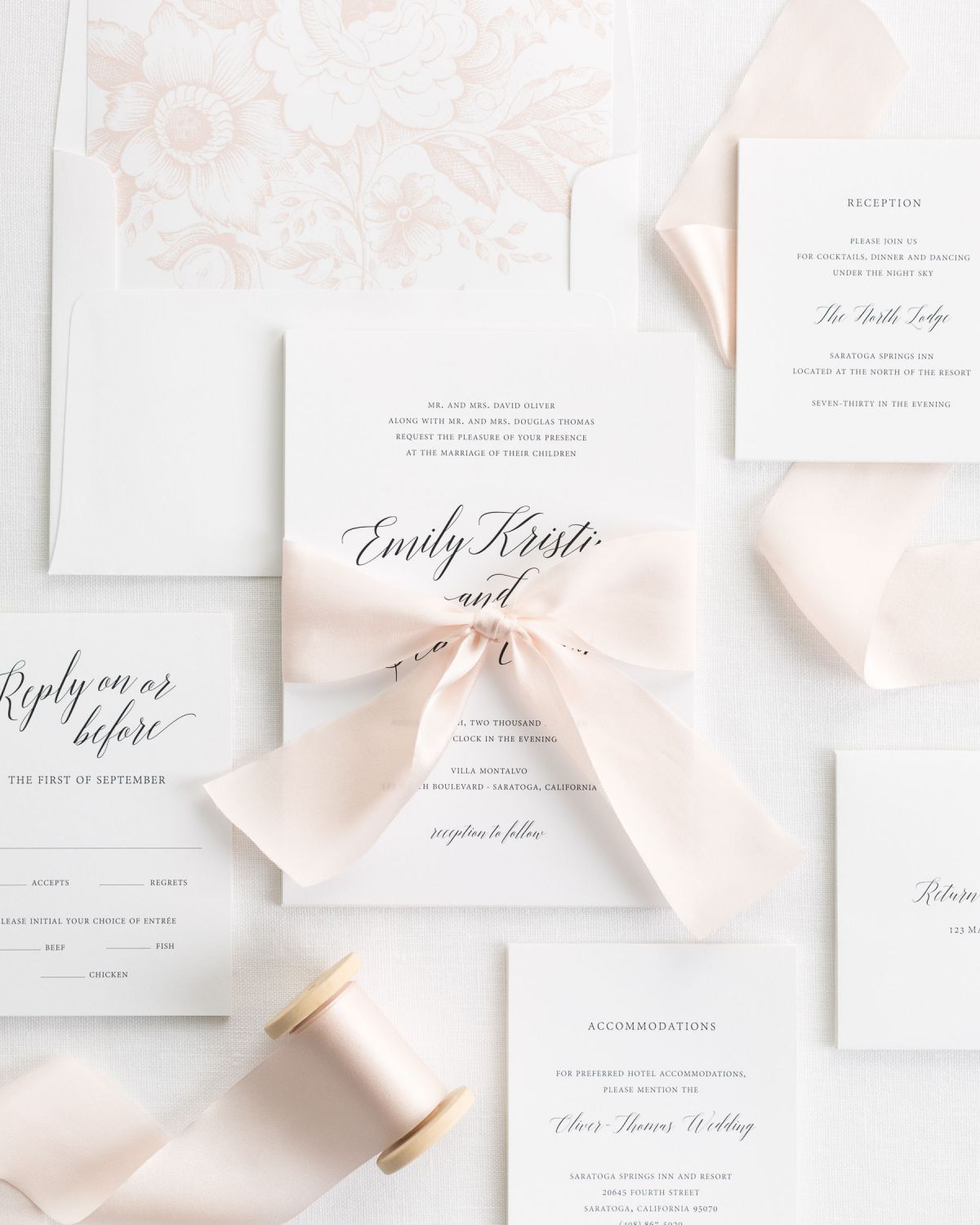 Complete Wedding Invitation Suite with Pale Pink Riboon and Enclosures