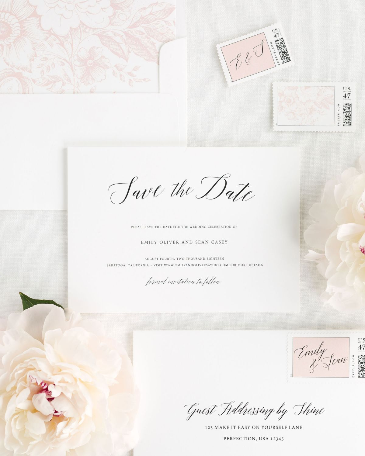 Save the Date with Blush Envelope Liner and Custom Stamps