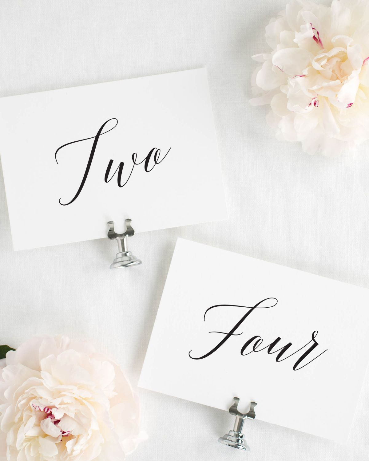 Written Out Table Numbers with Calligraphy