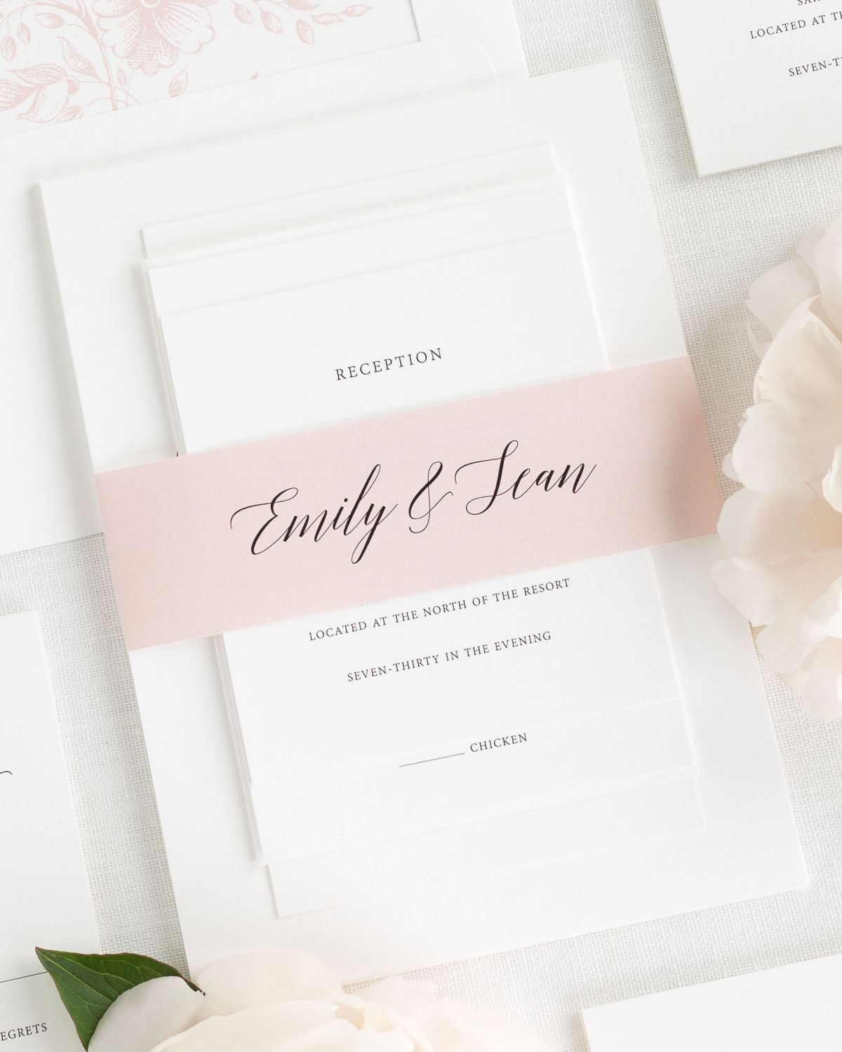 Blush Wedding Invitations with Belly Band and Garden Rose Envelope Liner