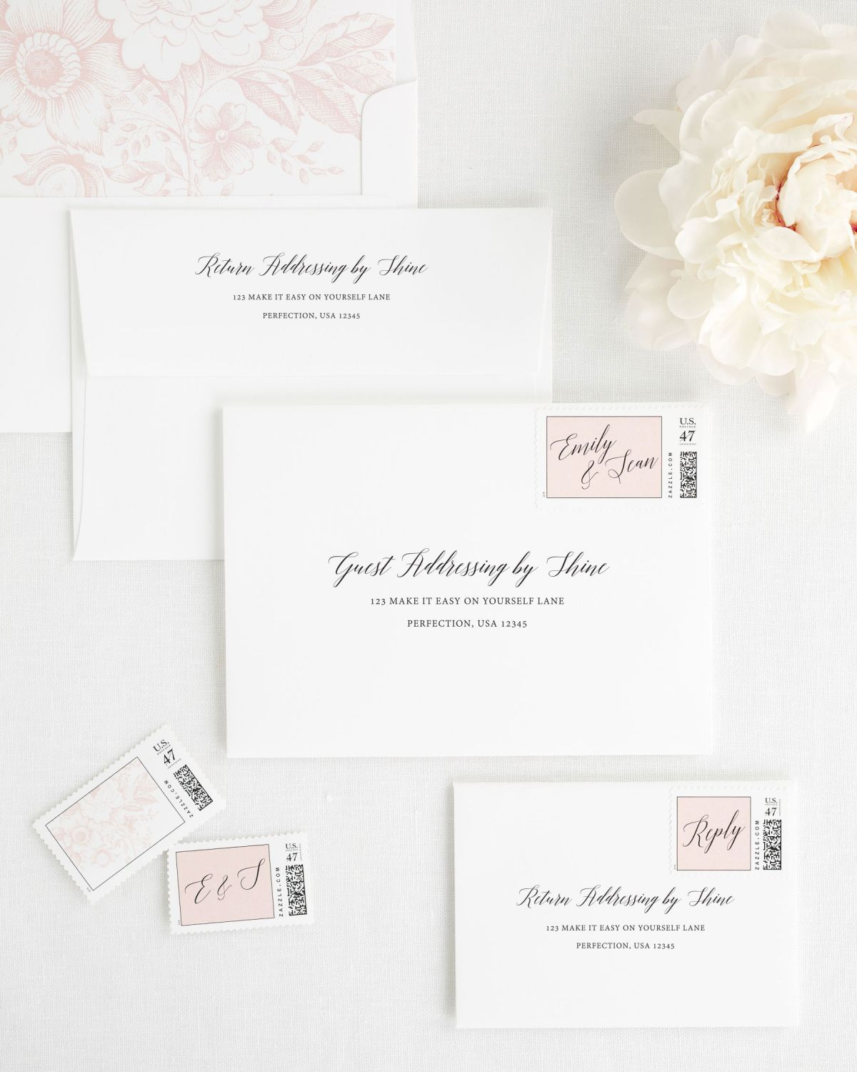 Wedding Invitation Envelopes with Blush Custom Postage and Floral Envelope Liner