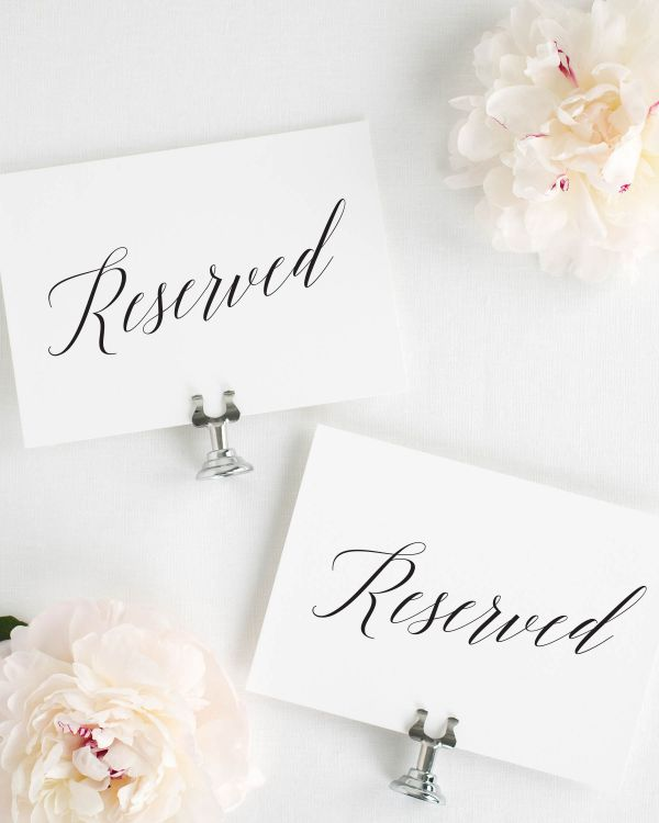 Garden Romance Reserved Signs