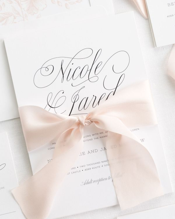 Garden Script Ribbon Wedding Invitations