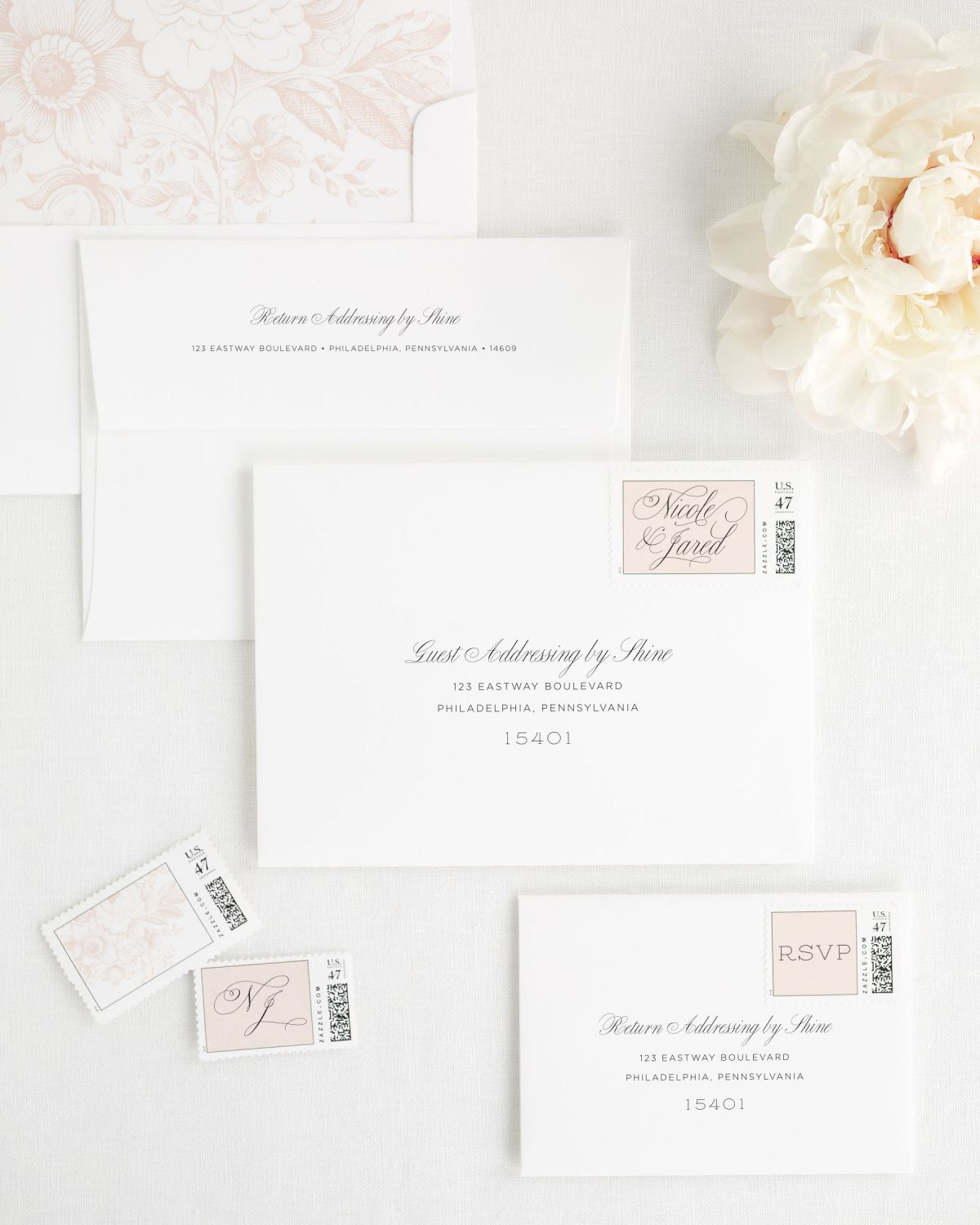 Wedding Invitation Envelopes With Guest Addressing And Custom Postage