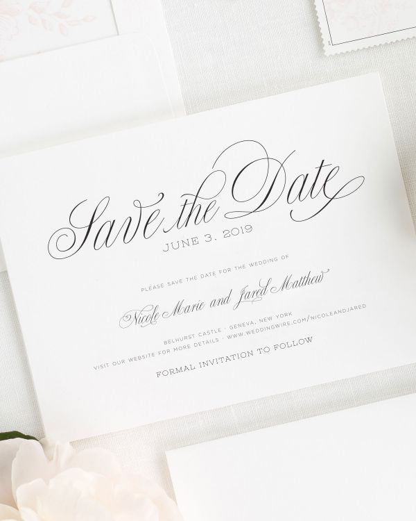 Garden Script Save the Date Cards