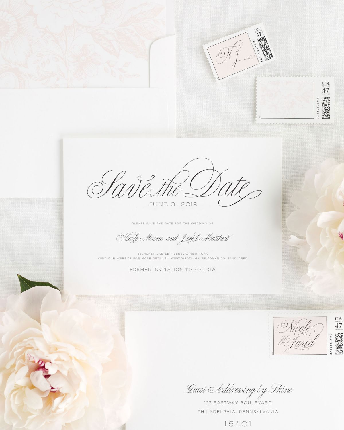 Save the Date with Light Pink Floral Envelope liner and Custom Stamps