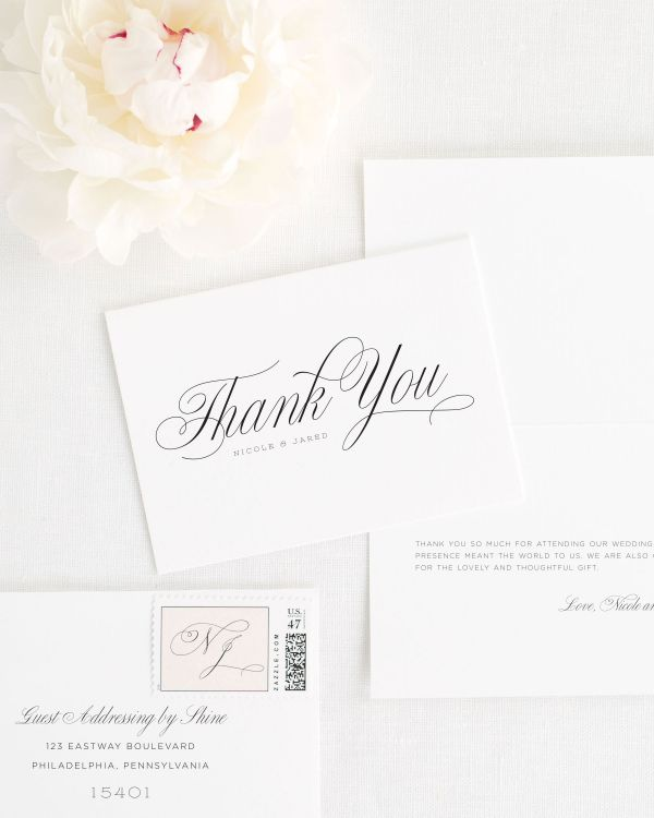 Garden Script Thank You Cards
