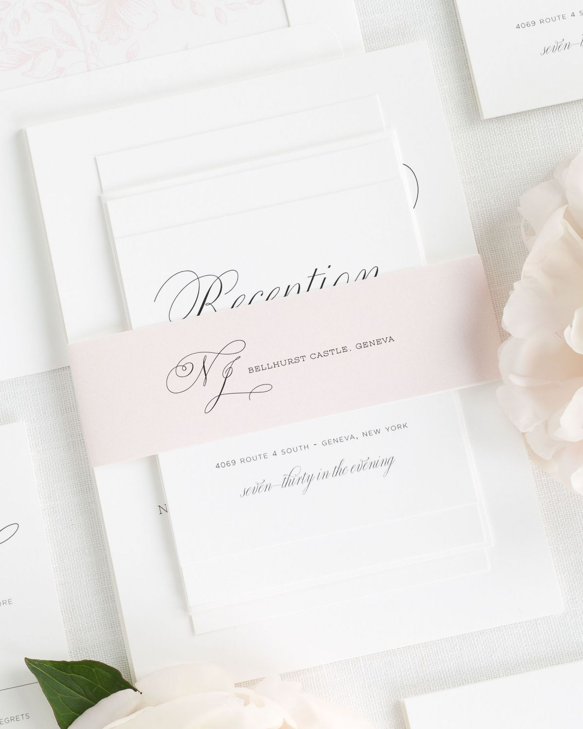 Peony Wedding Invitations with Belly Band and Floral Envelope Liner