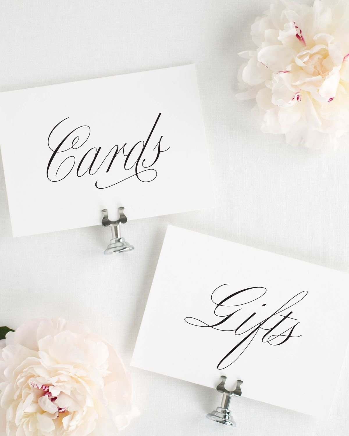 Cards and Gifts Wedding Signs in Script