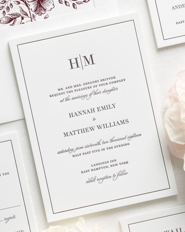 bordered and sophisticated letterpress wedding invitations with a cabernet liner