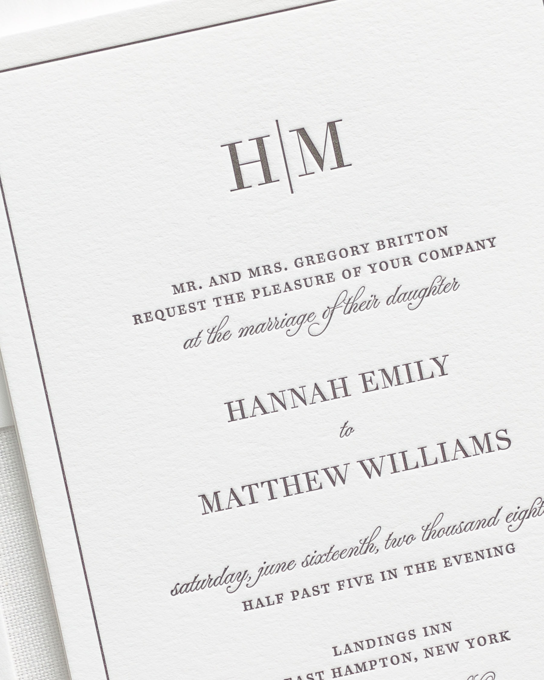Glam Monogram Letterpress Wedding Invitations Letterpress