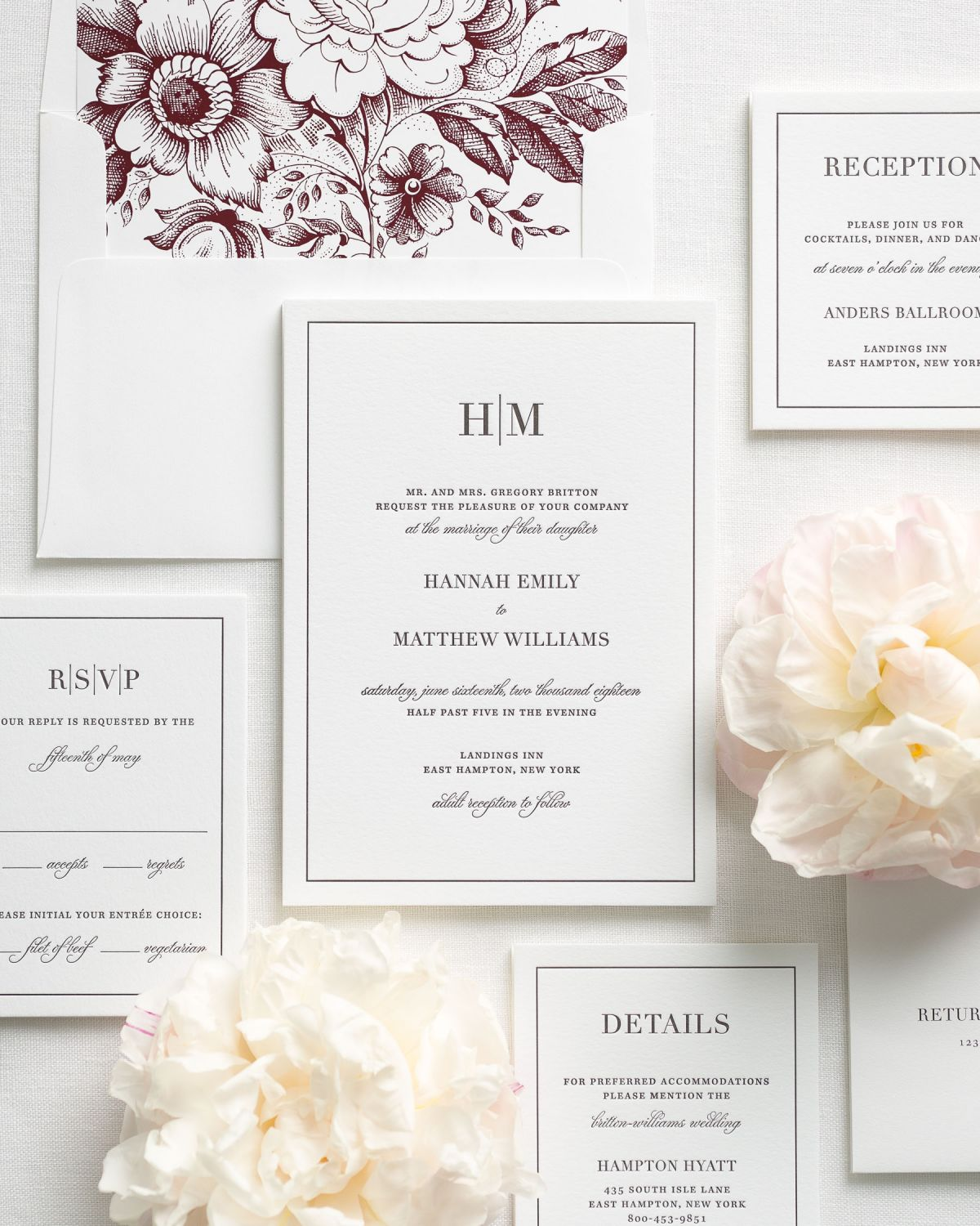 Modern Monogram Wedding Invitations with a wine floral liner