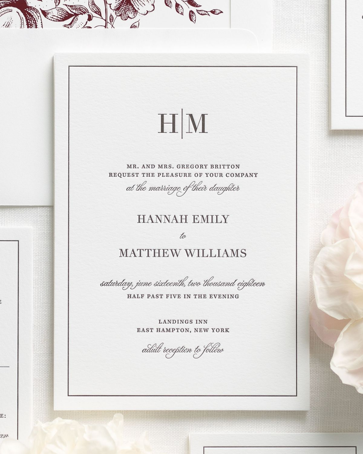 Letterpress Wedding Invitations with Border and Initials Monogram