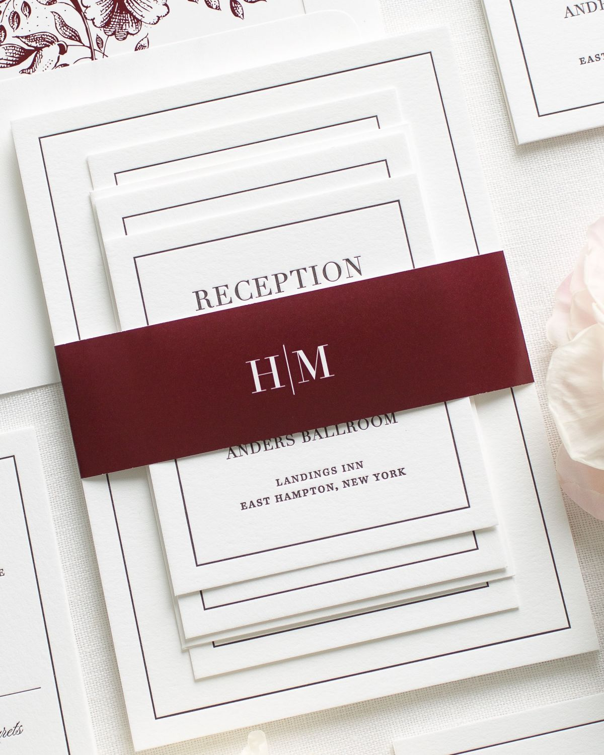 Burgundy Letterpress Wedding Invitations with a modern monogram