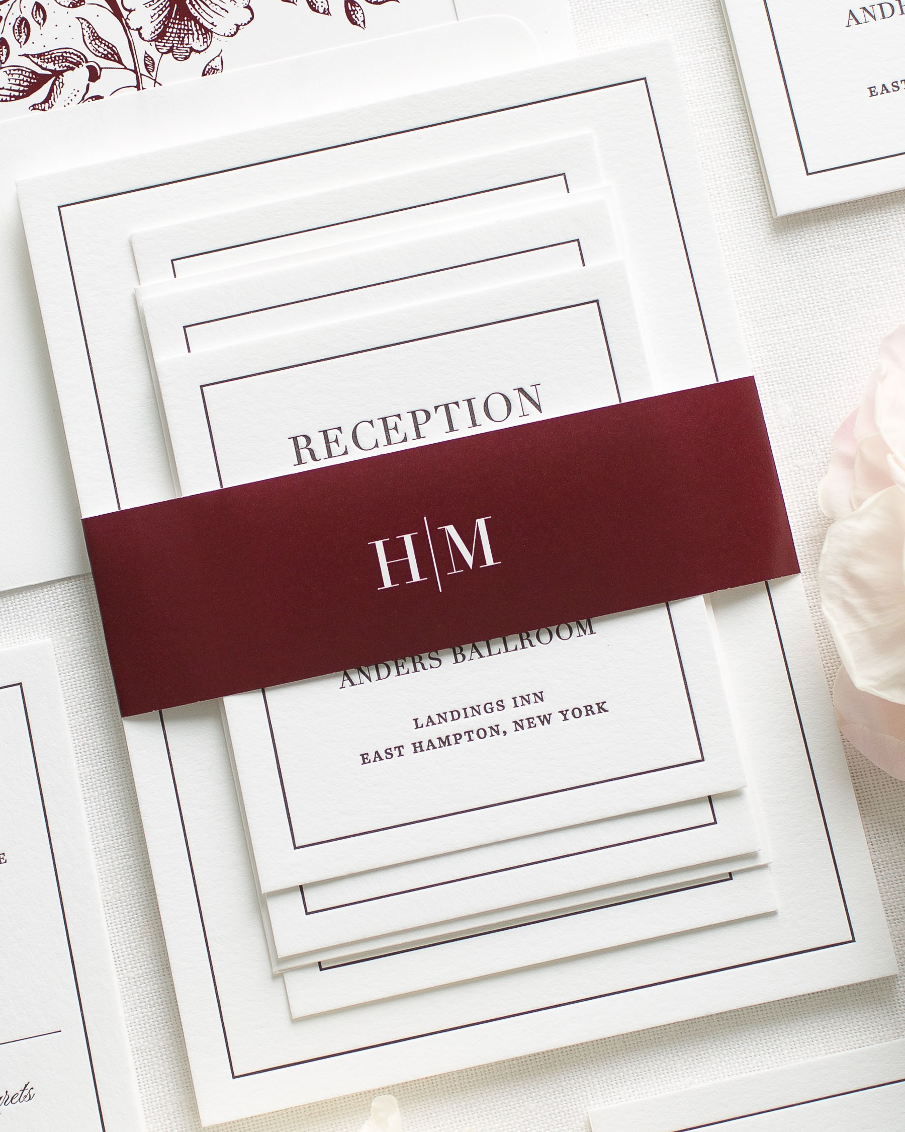 Glam Monogram Letterpress Wedding Invitations